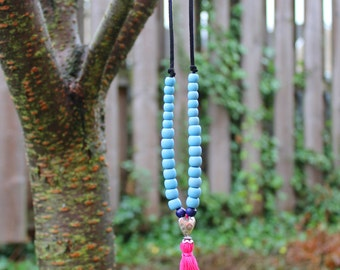 Handmade Tassel Necklace - Pink - more colours available