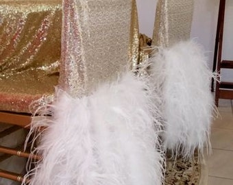 Sequin Feather Chair Cover
