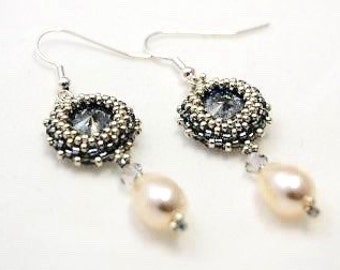 Earrings silver Pearl drop Swarovski Crystal 12 mm embryo earrings Pearl Earrings earrings handmade Bridal jewelry