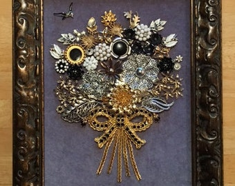 Vintage & Costume Jewelry Bouquet Framed Art