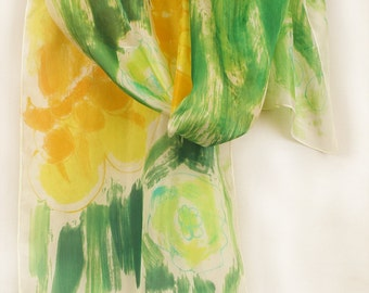 Hand painted scarf. Floral scarf. Painted silk scarf. Green yellow abstract scarf. Long, bold colored scarf. Painting on silk by Dimo
