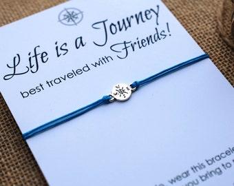 Friendship Bracelet Compass Bracelet BFF Gift Best Friend Bracelet Life is a Journey Bracelet Wishing Bracelet Wanderlust Bracelet Travel