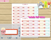 Printable planner stickers, Popcorn label kit for plan your Movies or netflix shows. Fit perfect on Erin condren boxes