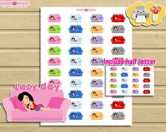 Chic Lazy day Printable Planner stickers, Cute Print and Cut stickers for your Erin Condren or ...