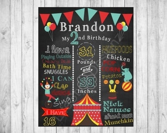 Carnival Theme Birthday Poster - Circus - Fair - Birthday Photo Prop - Clowns - First Birthday - Circus Birthday -Festival - Printable