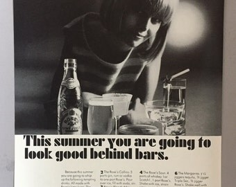 1965 Rose's Lime Juice Mixer with Drinks Recipes