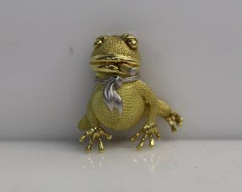 Vintage Estate Jewelry - 18k Yellow & Platinum Henry Dunay Cigar-Smoking Toad Frog Brooch