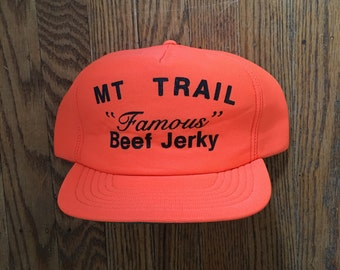 Vintage Neon Blaze Orange Deer Buck Hunting Famous Beef Jerkey Trucker Hat Snapback Baseball Cap