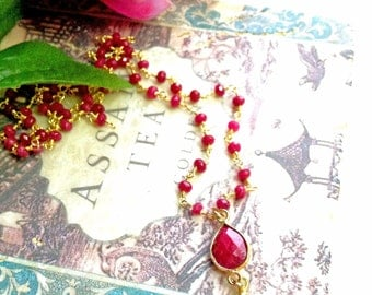 Ruby Necklace, Ruby Rosary Chain Necklace with Ruby and Vermeil Pendant, Boho Chic Delicate Ruby Necklace, Adjustable Length July Birthstone