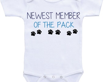 Dog shirt big brother Newest member of the pack I love my Dog onesie Dog lover baby gift my big brother is a dog baby onesie big brother dog