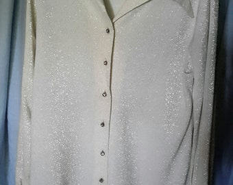 Gorgeous Jami Original white with silver threads and rhinestone buttons dress top, size med.