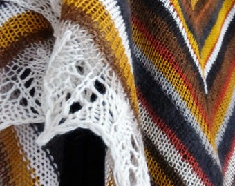 Striped Lace Shawl.  Knitted Shawl. Hand Knitting. Knit Triangular Shawl. Lace Wool Shawl