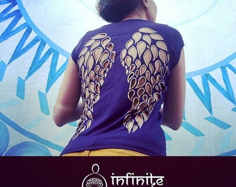 Spiritual clothing, dark purple, angel wings, yoga clothes, activewear, spirit shirt, yoga top, fitness apparel, yoga clothing, wings top