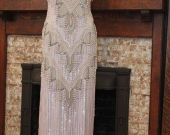 Art Deco White Formal Dress, Entirely Sequins, Beads and Pearls