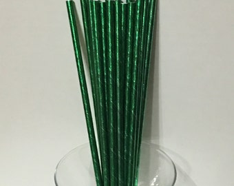 24 Green Metallic Foil Paper Party Straws. Cake Pop Straws. Drinking Straws. Party Supplies. Dessert Table. Baking Supplies