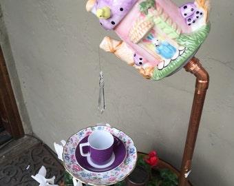 "Miniature Teapot w/ teacup ""Easter Party""Garden Decor"