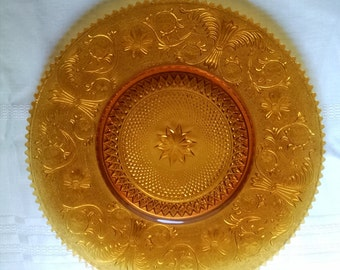 Tiara Exclusive Platter  Indiana Glass Sandwich  16 Inch Large Amber Plate -  Original Box 1970s