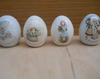 Four Vintage Holly Hobbie Porcelain Deorative Eggs