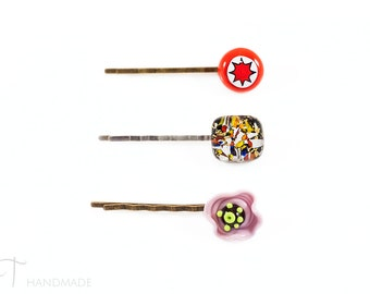 Hair bobby pin of your choice - Murano glass star bobby pin, black hair clip, flower bobby pin