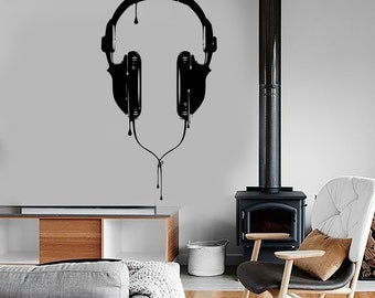 Wall Vinyl Music Headphones For Bedroom Guaranteed Quality Decal Mural Art 1530dz