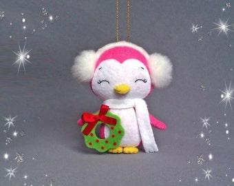 Christmas Ornament Felt Penguin Girl Christmas Tree Decorations Cute Little Penguin Soft Toys Animals Holiday Decor Christmas Gift For Baby