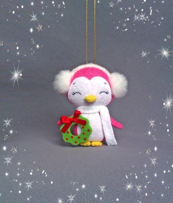 Penguin Christmas Tree: Christmas Ornament Felt Penguin Girl Christmas Tree