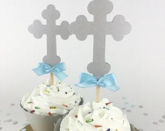 Party Decorations - Baptism Decor - Christening Decor - Communion Decor - Cross Cupcake Toppers - Silver Cross Cupcake Toppers - Set of 12