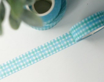 Watercolor Gingham Plaid Washi Tape - 1 Roll: Painted Teal Blue Gingham Washi Tape