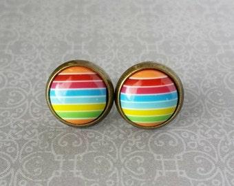 Rainbow Stripe Stud Earrings (10mm) Bronze