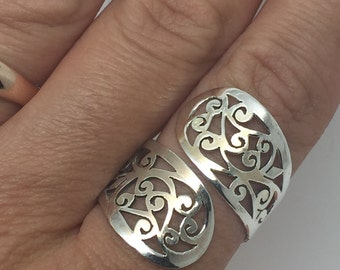 silver lace ring,silver ring,lace ring,adjustable ring,lace jewelry,silver jewelry,bohemian jewelry,ethnic ring,gypsy ring,boho ring