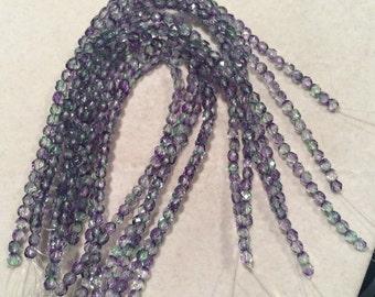 Fire Polished Beads, 4mm, Dual Coated-Blueberry/Green Tea, 1-04-48006, 50 Beads, Czech Glass