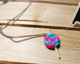 lollipop necklace polymer clay candy necklace sweet stainless steel