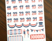 American Flag Dates Numbers Countdown Election Planner Stickers