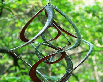 Bronze Patina Spiral Cosmix Wind Spinner & School of Spoon Fish Wind Chime-Kinetic Garden Art-Special Someone Gift-Outdoor Metal Sculpture