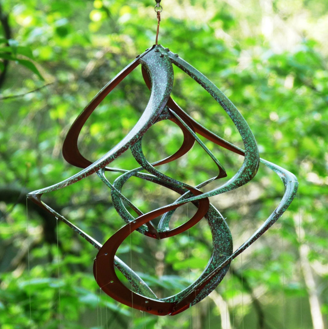 Spinning garden decorations - Bronze Patina Spiral Cosmix Wind Spinner School Of Spoon Fish Wind Chime Kinetic Garden