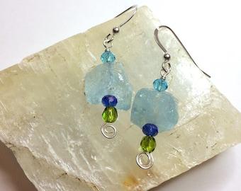 Raw Blue Topaz Earrings, December Birthstone Jewelry - FREE SHIPPING