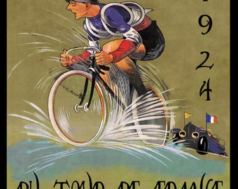 """Bike 16""""x20"""" 1924 Tour de France  Bicycle Race Cycle France French Sport European  Vintage Poster Repro Paper/Canvas FREE SHIPPING in USA"""