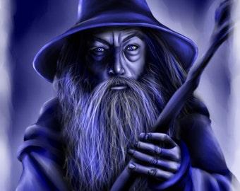 "Gandalf Original Art Print ""Gandalf in Blue"""