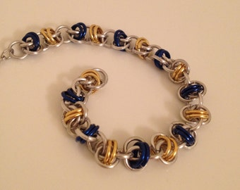 Blue and Yellow Chainmaille Bracelet