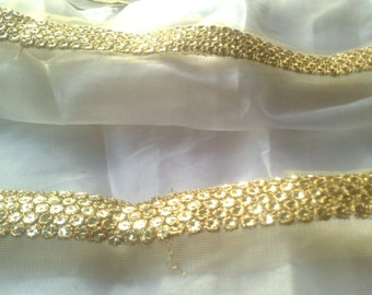 3 yards golden net sequin Indian sari saree border bridal lace designer embellishments Metallic antique golden neckline applique wholesale