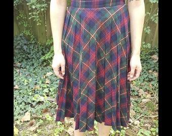 Vintage Plaid Skirt Parsons Place Ltd. Wool Mid Length Schoolgirl