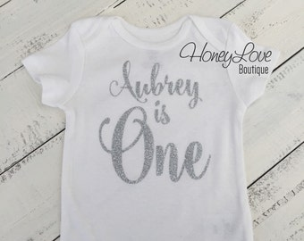Personalized NAME - number 1 one SILVER or GOLD glitter shirt bodysuit, First Birthday, 1st Cake Smash baby girl infant toddler