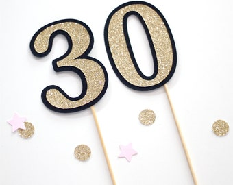 30th Birthday Cake Topper Gold Glitter and Black Number 30