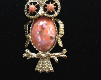 Owl brooch pin, Owl pin, Owl Jewelry,  Owls, vintage owl brooch pin, orange brooch, vintage owl brooch pin, owl pin, owl brooch, owl jewelry