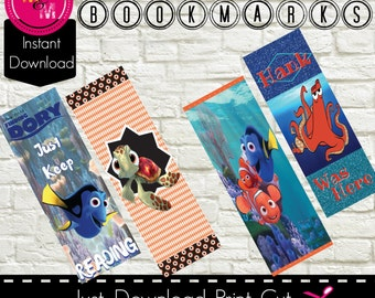 """Finding Dory Digital Bookmarks Printable-Set of 4 -Instant Download – 6.5""""x 2.5"""" size, AD3376"""