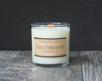 9 oz. Vanilla Pomegranate - Soy Wax Candle - Scented Candle with Wood Wick - Phthalate Free