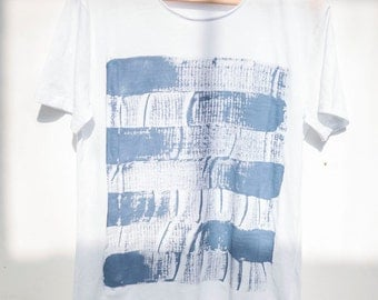 Hand Painted Shirt - Minimalist Blue Abstraction