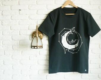 Space tshirt Black mens tshirt Hand painted black t shirt Graphic tee for men Moon Galaxy Rock Gift for men Boyfriend gift Cool gift for him