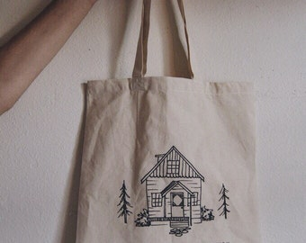 Home Is Wherever I'm With You Illustrated Cabin Lyrics Quote Tote Bag