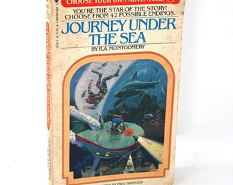 """Early edition vintage Choose Your Own Adventure book #2: """"Journey Under the Sea"""" by R.A. Montgomery - 1980s books, series, CYOA, retro!"""